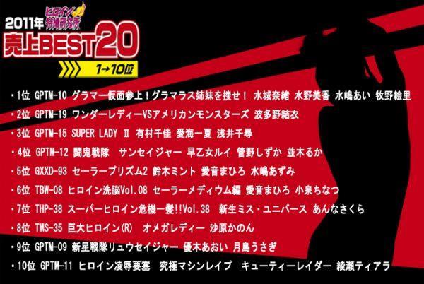 TDLN-143 Heroine Tokusatsu Institute Stores Top 20 Selling Films In 2011 - No.10-1 Yui Hatano, Chika Arimura, Chihiro Asai, Shizuka Kanno, Aoi Yuuki, Mahiro Aine, Azumi Mizushima, Ai Mizusima, Ichika Aimi, Eri Makino